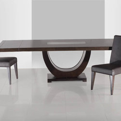 "Sheres Furniture - Wenge or walnut dining table.  78"" x 43"" closed.  114"" x 43"" open.  Two leaves.  Inset glass in center of top."