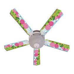 Ceiling Fan Designers Kids Happy Traveler Turtle Indoor Ceiling Fan - The Ceiling Fan Designers Kids Happy Traveler Turtle Indoor Ceiling Fan has a cute and colorful design your little princess will adore. An adorable ceiling fan and light combo, this one has a pink, blue, and green traveling turtle design. It comes in your choice of size: 42-inch with 4 blades or 52-inch with 5. The blades are reversible so when they outgrow the colorful turtle design just flip the blades to white. That's smart! It has a powerful yet quiet 120-volt, 3-speed motor with easy switch for year-round comfort. The 42-inch fan includes a schoolhouse-style white glass shade and requires one 60-watt candelabra bulb (not included). The 52-inch fan has three alabaster glass shades and requires three 60-watt candelabra bulbs (included). Your ceiling fan includes a 15- to 30-year manufacturer's warranty (based on size).