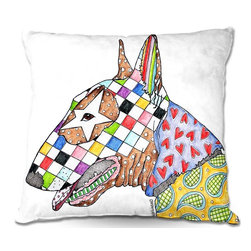 DiaNoche Designs - Pillow Woven Poplin by Marley Ungaro - Bull Terrier Dog - Toss this decorative pillow on any bed, sofa or chair, and add personality to your chic and stylish decor. Lay your head against your new art and relax! Made of woven Poly-Poplin.  Includes a cushy supportive pillow insert, zipped inside. Dye Sublimation printing adheres the ink to the material for long life and durability. Double Sided Print, Machine Washable, Product may vary slightly from image.
