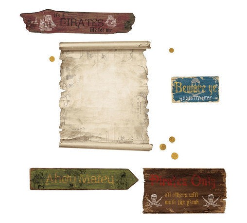 York Wallcoverings - Pirates Map Dry Erase Wall Accent Self-Stick Decals - Features: