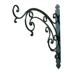 """Scroll Design Wall Bracket - Black Powder Coated Scroll Design Wall Bracket Forged by master craftsmen of iron & tole Hand-finished in a multi-step process 24"""" wide/2"""" deep/22.5"""" tall Weight: 8 pounds 2 ounces."""