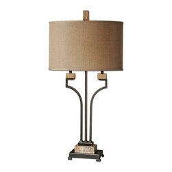 Uttermost - Uttermost Larimer Rustic Bronze Table Lamp - Rustic Bronze Table Lamp belongs to Carolyn Kinder Collection by Uttermost Distressed Rustic Bronze Metal With Gold Highlights And Polished Marble Details. The Oval Hardback Shade Is A Burlap Linen Fabric With Natural Slubbing. Lamp (1)