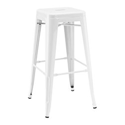 Design Lab MN - Amalfi Stackable Glossy White Steel Barstool Set of 4 - The Dreux steel stackable barstool is a fantastic designed barstool to add to any restaurant, bistro or coffee house. This barstool is produced in rolled steel which can withstand any high traffic area. It also can be stacked to save space if needed. Produced by Design Lab MN, this product is manufacturer to highest standards in the furniture industry.