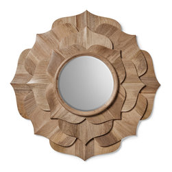 "Kathy Kuo Home - Hand Carved Solid Wood Contemporary Lotus Petal Mirror - The lotus is an enduring symbol of beauty and the ability to rise up and above the ""mud"" of life's problems. In this beautifully carved mirror, the eternal quality of this sacred flower is captured with precision and delight.  Echoing a rosette shape, this round mirror could easily be incorporated into contemporary spaces or more traditional ones with ease."