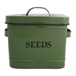 "Seed Bin, Green - This creative ""Seeds"" bin is ideal for your gardening accessories. Store your tools, gloves and seeds in an organized spot in your garage. Even better, use this container as a vase on the center of your table, filled with beautiful fresh flowers from your blooming garden!"