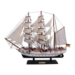 Handcrafted Nautical Decor - Gorch Fock 20'' - SOLD FULLY ASSEMBLED--Ready for Immediate Display - Not a Model Ship kit --These proud tall ships models of the Gorch Foch are perfectly sized for any small mantle, shelf or desk. Inspired by the German naval training cutter of World War 2, the Gorch Foch will add inspiration to a child's bedroom, a flair of nautical Decor to a den or living room, or an indomitable spirit to any office or meeting room. --20'' Long x 5'' Wide x 17'' High (1:169 scale)----    Arrives fully      assembled with      all sails mounted--    Handcrafted wooden hull and masts--    High quality woods include cherry, birch, maple      and rosewood--    20 handsewn white cloth sails--    Metal nameplate on wooden base identifies the ship as the Gorch Fock--