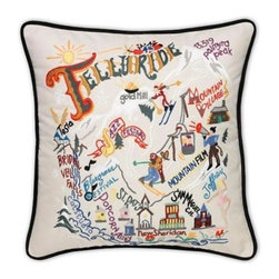 CATSTUDIO - Ski Telluride Pillow by Catstudio - Celebrate the states! These pillows from Catstudio's Geography Collection are delightful keepsakes for remembering the hometown you grew up in or commemorating your favorite vacation spot. Embroidered entirely by hand (over 35 hours go into each one!) with black velvet piping, these make the perfect gift for all occasions! Removable cotton cover and polyfill pillow form. Cover is dry clean only.