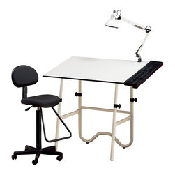 Alvin and Company - Creative Center Drafting Combo - From artists to architects, anyone with a creative spark will love this drafting table set, featuring an adjustable Melamine tabletop and a tubular steel base with plenty of leg room. It has an attached swing arm light fixture and a plastic storage tray, and it folds for easy storage. An adjustable office chair is also included. This product CANNOT be shipped to California. A drafting-height table combination for all your creative needs. Fold-away design for convenient storage. Includes:Drawing table: . White base with 30 in. L x 42 in. W. Height adjusts from 29 in. to 44 in. in horizontal position. Angle adjusts from 0° to 45°. Pencil ledge includedGas-lift drafting chair:. Black upholstered seat & backrest. Gas cylinder mechanism adjusts height from 23 in. to 28 in. . Teardrop footrestSwing-arm lamp:. 6.5 in. white metal shade. Takes 100-watt bulb. Spring arm & knob. Arm length extends to 32 in.. Locks securely in any positionStorage tray:. Sturdy, multi-compartment & black plastic side tray to hold all your supplies. Installs either left or right side. 31.5 in. long & 6 in. wide