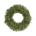 "Vickerman - Cambridge Wreath 50CL 168T (30"") - 30"" Cambridge  Wreath  168 Needle/PVC Tips, 50 Clear Mini  Lights,  Cones/Berries"