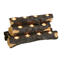 Holly & Martin - Sierra Tealight Fireplace Log - The rustic charm of a flickering fire is recreated with this clever, handcrafted resin log sculpture. Set right in the fireplace for a no fuss alternative to lighting a fire. Holds 11 tea lights (included).