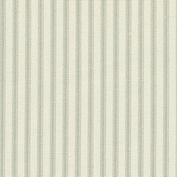 Orien Textile - Ticking Fabric, Seafoam - Screen printed on cotton this fabric is perfect for decorating. Colors include grass and ivory. This fabric is great for throw pillows, duvet covers, draperies, valances or light upholstery. Try your hand with tote bags and handbags