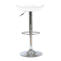 Eurostyle - Fabia Bar/Counter Stool-Wht/Chrm - The fluid design of this stool seems fitting, considering it's for your bar or counter. Let the libation flow as you ride the wave-inspired seating area.