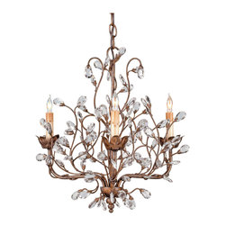 Kathy Kuo Home - Graceful Crystal Bud 8 Light Chandelier- Small - The darling buds of May inspired Shakespeare, and the crystal buds of this gold leafed traditional chandelier will inspire all who love old world, feminine style.