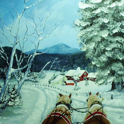 overstockArt.com - Miller - Sleigh Ride - Sleigh Ride is a beautiful painting of winter landscape and sleighs dashing through the snow on their way to home. Enjoy the beauty of this painting reproduced as a fine canvas print. Peggy Miller is a self taught artist that worked in many different artistic jobs from graphic design, costume design and many others. However, painting has become her passion. She is a nature lover that believes in conservation and preservation and hopes that her work will help others see the world as she does, with the wonder of a child. In her paintings she tries to capture a soft, beautiful, serene feeling that beauty of nature gives to her.