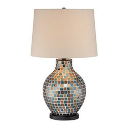 Blue with Brown Glass 29 1/2-Inch-H Mosaic Jar Table Lamp -