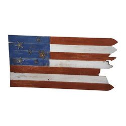 Pre-owned Salvage Wood American Flag - Reclaimed fencing turned one-of-a-kind American flag with accent vintage cast iron stars. Painted in traditional colonial patriotic colors. Display on your mantel for rustic look. The wood has not been sanded or sealed. Let your flag shine!