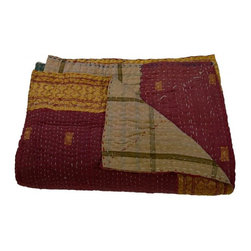 Modelli Creations - Vintage Reversible Kantha Throw in Red with Gold Sari Border - Vintage reversible kantha throw in red with gold sari border.