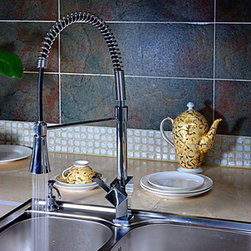 Kitchen Sink Faucets - Spring Kitchen Faucet with Color Changing LED Light - Solid Brass--FaucetSuperDeal.com