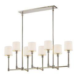Sonneman - 2474.35 Polished Nickel Embassy LED 8 Light Single Tier Linear Chandelier - Lamping Technology: LED - Light Emitting Diode: Highly efficient diodes produce little heat and have an extremely long lifespan.