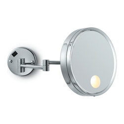 Electric Mirror - EMHL7 Makeup Mirror - Wall mounted make-up mirror available in brushed nickel or polished chrome finish. Features 5X magnification and adjustable double arm. 25 watt incadescent bulb included. 9W x 9H.