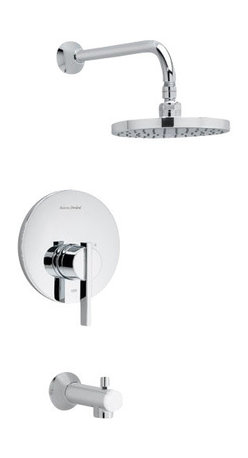American Standard - Berwick Tub and Shower Faucet with Rain Showerhead in Polished Chrome - American Standard T430.502.002 Berwick Tub and Shower Faucet with Rain Showerhead in Polished Chrome.