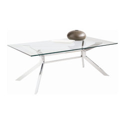 "Sunpan Modern - Tista Coffee Table - Features: -Material: Chrome and Tempered glass.-Tista collection.-Collection: Tista.-Style: Contemporary.-Base Finish: Chrome.-Distressed: No.-Powder Coated Finish: No.-Wrought Iron: No.-Top Material: Glass.-Base Material: Steel.-Number of Items Included: 1.-Non-Toxic: Yes.-UV Resistant: No.-Scratch Resistant: No.-Stain Resistant: Yes.-Moisture Resistant: Yes.-Design: Rectangle.-Drop Leaf: No.-Shape: Rectangle.-Lift Top: No.-Tray Top: No.-Storage Under Tabletop: No.-Folding: No.-Magazine Rack: No.-Built In Clock: No.-Powered: No.-Nested Stools Included: No.-Casters: No.-Exterior Shelves: No.-Cabinets Included: No.-Drawers Included: No.-Corner Block: No.-Cable Management: No.-Adjustable Height: No.-Glass Component: Yes -Tempered Glass: No.-Beveled Glass: No.-Frosted Glass: No..-Upholstered: No.-Outdoor Use: No.-Swatch Available: No.-Commercial Use: Yes.Dimensions: -Overall Height - Top to Bottom: 16.75"".-Overall Width - Side to Side: 47.25"".-Overall Depth - Front to Back: 23.5"".-Table Top Width - Side to Side: 47.25"".-Table Top Depth - Front to Back: 23.5"".-Drawers: No.-Shelving: No.-Cabinets: No.-Legs: -Leg Height - Top to Bottom: 16""..-Overall Product Weight: 68 lbs."