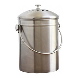 Stainless Steel Compost Bin 1.3 gallon - Recycled stainless steel kitchen compost bin for storing vegetable scraps, egg shells and other waste. Filter in the lid keeps odors from escaping allowing you to make less frequent trips to your outdoor compost site.