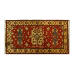 Hand Knotted 3'X5' Rich Red Kazak With Geometric Design 100% Wool Rug SH6164 - This collections consists of well known classical southwestern designs like Kazaks, Serapis, Herizs, Mamluks, Kilims, and Bokaras. These tribal motifs are very popular down in the South and especially out west.
