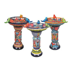 "Talavera Ceramic Birdbaths - These colorful hand painted Talavera birdbaths can make your yard or garden spring to life. Each two-piece Mexican ceramic birdbath consist of a base and a top with three ceramic birds. Our Talavera garden pottery is handmade and hand painted by Mexico's talented potters. Many styles and colors are produced. Your birdbath will be chosen from our current assortment. Dimensions: 16"" dia. x 26.5"" h (not including the birds on the bowl)"
