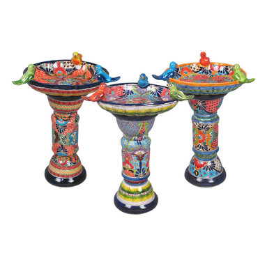 """Talavera Ceramic Birdbaths - These colorful hand painted Talavera birdbaths can make your yard or garden spring to life. Each two-piece Mexican ceramic birdbath consist of a base and a top with three ceramic birds. Our Talavera garden pottery is handmade and hand painted by Mexico's talented potters. Many styles and colors are produced. Your birdbath will be chosen from our current assortment. Dimensions: 16"""" dia. x 26.5"""" h (not including the birds on the bowl)"""