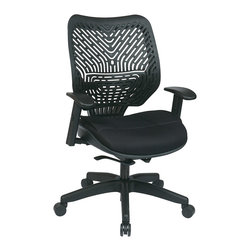 Office Star - Space Seating 86 REVV Series Unique Self Adjusting Mesh Seat Managers Chair - Raven self adjusting space flex back and raven mesh seat managers chair with adjustable arms and nylon base. Pneumatic seat height adjustment, 360 degrees swivel, 2 to 1 synchro tilt with tilt tension and lock