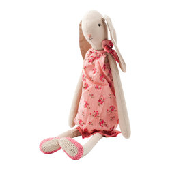 Maileg - Rose, Big Sister Rabbit - Your little one will want to take this beautiful bunny everywhere. She's stitched out of 100 percent cotton and features a tan body, floppy ears and a pink rose-covered romper. She's one haute and huggable hare.