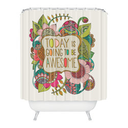 DENY Designs - DENY Designs Valentina Ramos Today Is Going To Be Awesome Shower Curtain - Who says bathrooms can't be fun? To get the most bang for your buck, start with an artistic, inventive shower curtain. We've got endless options that will really make your bathroom pop. Heck, your guests may start spending a little extra time in there because of it!