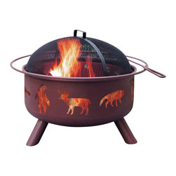 Landmann - Firepit w Wildlife - Georgia Clay Finish - This fire pit lets you get a 360 degree view of the fire adding more ambience to your backyard evening events.  This one has a wildlife animal theme with its screened cut outs.  Screen top provides protection from stray sparks. * Unique and stylish decorative cutouts create an incredible ambiance at night. Sturdy steel construction designed for easy assembly. Offers 360° viewing of the fire. Full-size enamel cooking grate included. Large 23.5 in. diameter bowl. Full-diameter handle. Spark guard cover and poker included. Georgia Clay color. Sand paint finish. Weather cover available. Bowl Diameter: 23.5 in.. 29.5 in. L x 29.5 in. W x 23 in. H