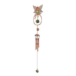 "GSC - 30"" Sitting Green Fairy on Copper Toned Fantasy Wind Chime - This gorgeous 30"" Sitting Green Fairy on Copper Toned Fantasy Wind Chime has the finest details and highest quality you will find anywhere! 30"" Sitting Green Fairy on Copper Toned Fantasy Wind Chime is truly remarkable."
