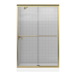 """Kohler - Kohler K-702208-L-ABV Brushed Bronze Fluence Fluence Frameless Bypass - Fluence 47-5/8""""W x 70-5/16""""H Frameless Bypass Bath Tub Door with Crystal Clear Glass and Towel BarsThe Fluence bypass bath door features a Eurostyle frameless design with Crystal Clear(TM) 1/4""""-thick tempered glass. Designed to accommodate out-of-plumb installations, this door features a continuous panel guide for smooth, quiet sliding action.70-5/16""""H x 44-5/8"""" - 47-5/8""""W1/4"""" frameless, thick Crystal Clear tempered glassCleanCoat(TM) glass coating repels water for easy cleanupContinuous door panel guide mechanism for smooth, quiet sliding actionStainless steel hardware prevents rusting or corrosionGently curved inside and outside towel barSmooth, easy-to-clean wall jambs"""