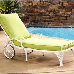 Home Styles Biscayne Chaise Lounge Chair - Relax comfortably in the sun throughout the warm summer months with the elegantly designed Home Styles Biscayne Chaise Lounge Chair. Strong and durable, this chaise lounge is crafted from cast aluminum and features a UV-resistant, powder-coated finish that's sealed with a clear coat for added protection. Choose your favorite finish and cushion color combination to create a beautiful style that is all your own. Adjust the seat back to four different positions so you can lay back and rest, read a book, or enjoy a cold drink while talking with a friend and watching your kids play. Nylon glides on the feet not only help to prevent damages to your patio but also provides stability on uneven surfaces so your not rocking back and forth. It's also easy to follow the sun around your yard with the two wheels which make this lounge easily portable. Great for poolside relaxing, you'll also love having this chaise lounge as a part of your patio or deck so you can enjoy resting outdoors for years to come. Additional Features 2 wheels makes this chaise lounge portable Seat back can be adjust to 4 different positions Includes comfortable, easy-to-maintain cushions Nylon glides helps prevent damage on surfaces Glides provide stability on uneven surfaces Some assembly required About Home StylesHome Styles is a manufacturer and distributor of RTA (ready to assemble) furniture perfectly suited to today's lifestyles. Blending attractive design with modern functionality, their furniture collections span many styles from timeless traditional to cutting-edge contemporary. The great difference between Home Styles and many other RTA furniture manufacturers is that Home Styles pieces feature hardwood construction and quality hardware that stand up to years of use. When shopping for convenient, durable items for the home, look to Home Styles. You'll appreciate the value.