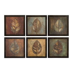 Uttermost - New Leaf Framed Panel Set of 6 - Celebrate nature in your home with this lovely leaf painting set. The strong brown frames complement the subtle earth tones of each print.
