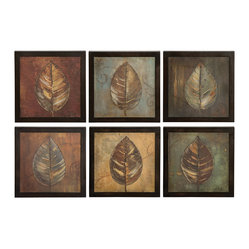 Uttermost - New Leaf Framed Panel Set/6 - Celebrate nature in your home with this lovely leaf painting set. The strong brown frames complement the subtle earth tones of each print.
