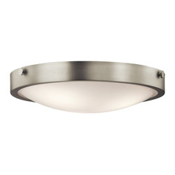 Kichler Lighting - Kichler Lighting 42275NI Lytham Transitional Flush Mount Ceiling Light - This versatile 3 light flush mounted ceiling fixture features a clean, Brushed Nickel finish and Stain Etched White Glass that will effortlessly highlight any space in your home.