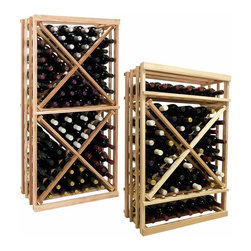 Vintner Series Wine Racks - The Vintner Series 1 Column Open Diamond Cube Wine Rack has open sides and cross intersection inserts that allow for this wine rack kit to be a more affordable bin wine storage option than the Solid Diamond Cube or Solid Diamond Bin, but achieving the same wine storage look. Purchase two to stack on top of each other to maximize the height of your wine storage. Moldings and platforms sold separately. Assembly required.