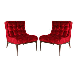 Pair of Biscuit Tufted Slipper Chairs - I instantly fell in love with these red, velvet, tufted slipper chairs. They are literally oozing with love.