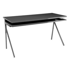 Blu Dot - Blu Dot Desk 51, Slate - Startlingly creative and wonderfully functional, Blu Dot's Desk 51 with its integrated keyboard tray and distinctive style are a great option for a style-forward home office.