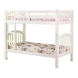 "Acme - Heartland White Finish Wood Twin Over Twin Bunk Bed Set - Heartland White Finish Wood Twin Over Twin Bunk Bed Set. Measures 81"" x 43"" x 67""H. Some assembly required."