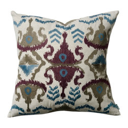 "KOKO - Blue and Plum Ikat Pillow, 18"" x 18"" - Ikat is most certainly on trend and the embroidery on this pillow makes it even more special. The colors are a perfect mix of earth tones and pretty blue and you will love the way this pattern works with other prints in your home."