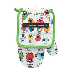 None - Wacky Woollies Oven Glove and Pot Holder Set - This Wacky Woollies Oven Glove and Pot Holder Set features a silly sheep print. This package contains one square pot holder and an oven mitt.