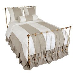 Luka - Striped Duvet - Broad and dramatic stripes bring swaths of lovely neutrals � organic flax and downy white � from top to bottom of the Luka Duvet, while zig-zag contrast top-stitching joins the stripes with extra texture.  This duvet cover is made of 100% organic linen and has a cool but cozy look that suits every season.  Better yet, the duvet matches all color schemes with its paired tints, bringing the beautiful brushed look of woven linen to your bedroom.