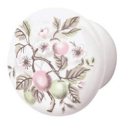 Renovators Supply - Cabinet Knobs Porcelain Apple 1 1/2 '' Dia Cabinet Knob - These spring apple blossoms sit atop a 1 1/2 inch diameter knob.  The knob projects 1 in.