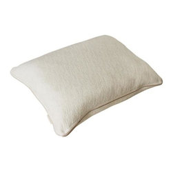 Keetsa - Down Alternative Pillow - Squeezable. Squeezable Fiber Fill With Memory Foam Core Support.. EverGreen, made from all-natural green tea, is embedded into the memory foam for long-lasting natural odor control. Soft Hemp blend fabric that allows more air ventilation for cooler sleep.. Unzip to wash cover; do not wash the memory foam pillow itself. Foam insert made from high quality (3-pounds) memory foam. The core's contoured shape helps to give a weightless comfort to your neck and shoulder. A 5-year warranty is provided against manufacturer's defects for this product. 25 in. L x 19 in. W x 6 in. HSoft Like Down but Supports Like Memory Foam Pillow. Looks and feels like a traditional down or fiber pillow, but the contour shaped memory foam insert makes sure your neck and spine are getting proper support.  Designed to best fit the curves when sleeping on your side.