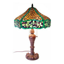 """Warehouse Of Tiffany - Tiffany-Style Chocolate Table Lamp - Tiffany Style Leaves Design Table Lamp. Simple and beautiful. The primary colors are green, amber, purple and blue. The base is made of white zinc metal. It has more than 200pcs. of cut glass. Each glass is individually cut wrap around copper foil and soldered together. Dimension is 25""""hx16""""w, requires 2 (60 watt) lightbulb and 2 pull chain."""